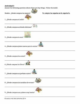 Spanish Stores Vocabulary Writing Activities