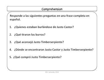 Spanish Story Reading Activities: Justo Castor - Superestrella Episode 2