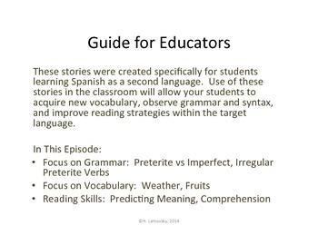 Spanish Story Reading Activities:  La Banda de Verduras Episode 3