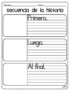 Spanish Story Sequence Graphic Organizer - First, Next, and Last