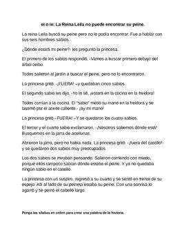 Spanish Story and Phoneme work