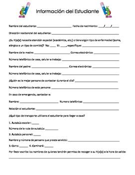 Spanish Student Info Sheet