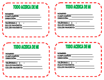 Spanish Student Information Cards