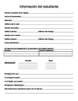 Spanish Student Information Sheet