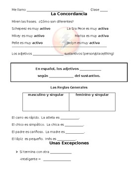 Spanish Student Note Sheet on Making Adjective Agree