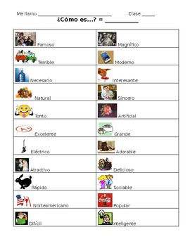Spanish Student Notes Sheet- Cognate Adjectives