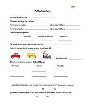 Spanish Student Profile/Information Sheet