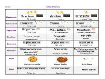 Spanish Student Rubric for Writing