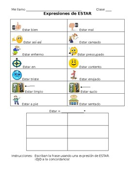 Spanish- Student note sheet on Estar Expressions and Conjugation