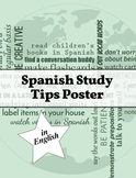 Spanish Study Tips Poster ~ in English
