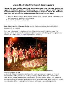 Spanish Sub Day Packet: Unusual Festivals of the Spanish-Speaking World
