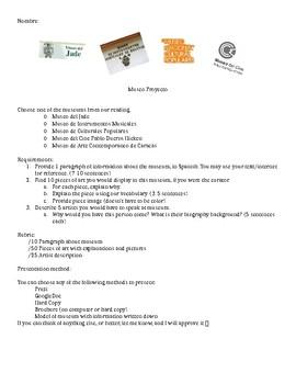 Spanish Sub Plan: Museum Project