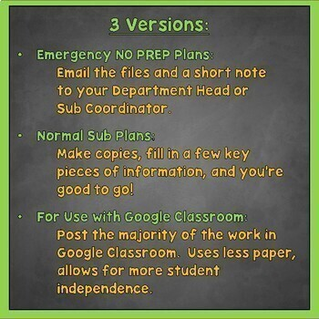 Spanish Sub Plans, Substitute Plans for Spanish 1, 2, and 3, Emergency Plans