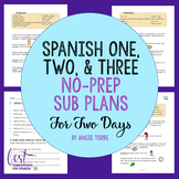 Spanish Sub Plans for Spanish One, Two, and Three