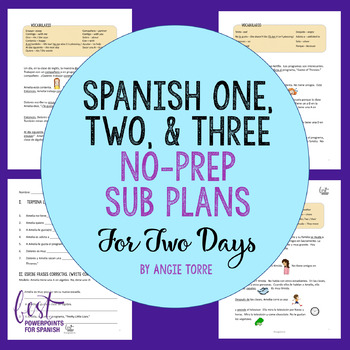 Spanish Sub Plans for Spanish One | Two and Three Distance Learning