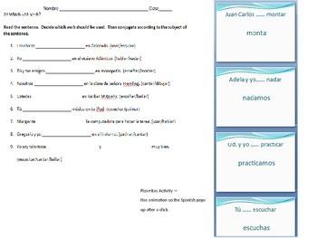 Spanish Subject Pronoun & Conjugating AR Verbs