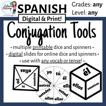Subject Pronoun Dice & Spinner for Verb Conjugation Practice and Games - Spanish