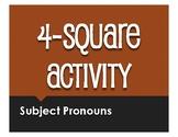 Spanish Subject Pronoun Four Square Activity