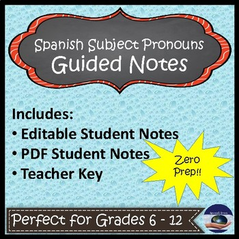 Spanish Subject Pronoun Guided Notes and Key