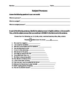 Spanish Subject Pronoun Identification Worksheet