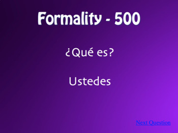 Spanish Subject Pronoun Jeopardy-Style Review Game