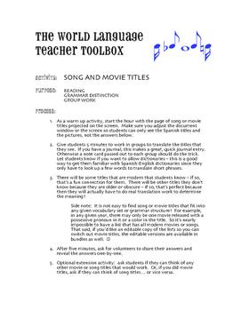 Spanish Subject Pronoun Movie Titles
