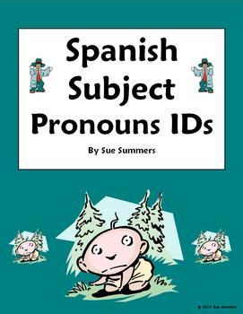 Spanish Subject Pronoun Picture IDs Worksheet