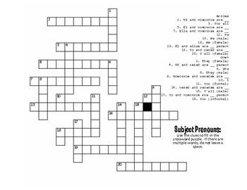 Spanish Subject Pronoun Puzzle Pack