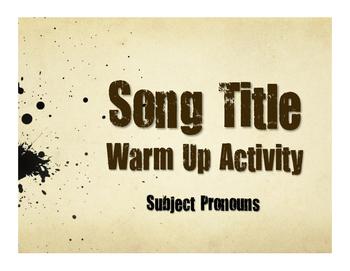 Spanish Subject Pronoun Song Titles