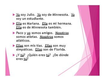 Spanish Subject Pronoun Tactile Activity