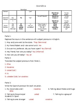 Subject Pronouns In Spanish Worksheet Answers ...