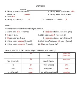 Spanish Subject Pronoun Worksheet