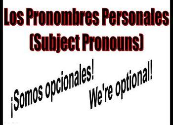 Spanish Subject Pronouns and Ser Classroom Signs
