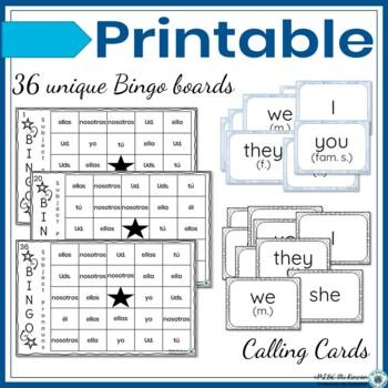 Spanish Subject Pronouns Game Bingo