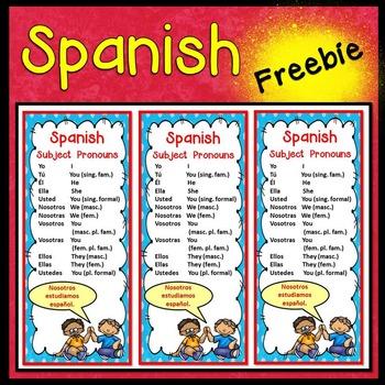 Spanish Subject Pronouns Book Marker FREEBIE