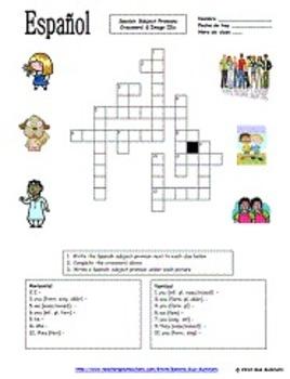 Spanish Subject Pronouns Crossword and Image IDs