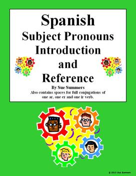 Spanish Subject Pronouns Explanation & 3 Verb Conjugation Spaces