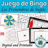 Spanish Subject Pronouns Game Bingo English Boards