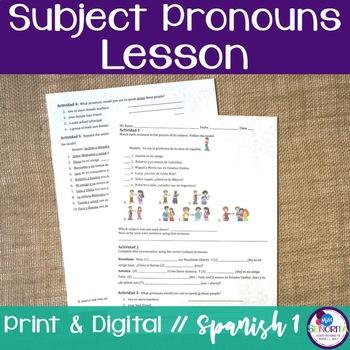 Spanish Subject Pronouns Lesson
