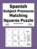 Spanish Subject Pronouns Matching Squares Puzzle - Pronombres Personales