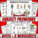 Spanish Subject Pronouns Picture Notes and Practice Worksheets
