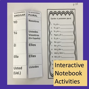 Spanish Subject Pronouns PowerPoint and Interactive Notebook Activities