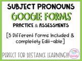 Spanish Subject Pronouns Quizzes for Google Forms (Distanc