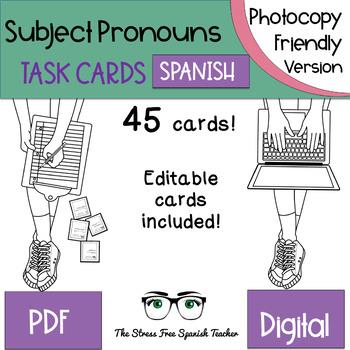 Spanish Subject Pronouns TASK CARDS, Photocopy Friendly Version