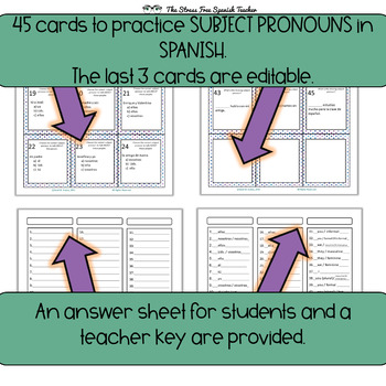 Spanish Subject Pronouns TASK CARDS for practice and review!