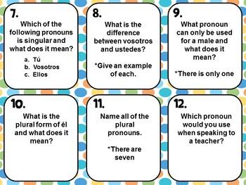 Spanish Subject Pronouns Task Cards