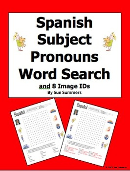 Spanish Subject Pronouns Word Search and Image IDs