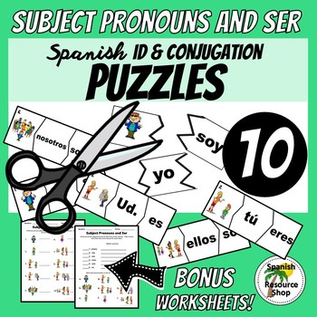 Spanish Subject Pronouns and Ser ID and Conjugations Puzzles