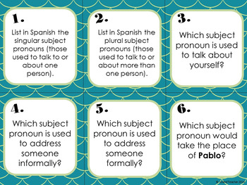 Spanish Subject Pronouns and Ser Task Cards