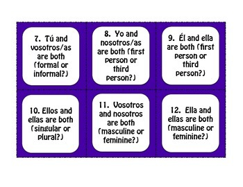 Spanish Subject Pronoun Task Cards